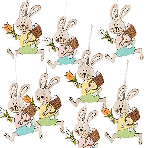 Logbuch-Verlag 12 piccoli coniglietti pasquali da appendere, decorazione pasquale, con cordino da appendere, rosa, azzurro, bianco, a pois