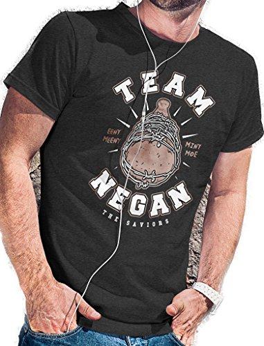 LeRage Shirts Team Negan T-Shirt – The Saviors Walking Zombies Dead Herren Gr. XL, anthrazit