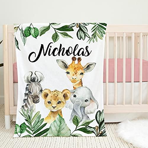 Safari Animals Custom Baby Boy Name Blanket, Jungle Greenery Leaves Forest Personalized Blanket Newborn, New Born Gift,, Toddler Blanket, Gift3