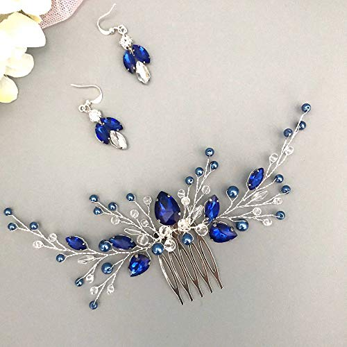BERYUAN Women Royal Sapphire Crystal Blue Pearl Earring Hair Vine Set Silver Wedding Hair Accessory Hair Comb Piece Gift for Her Party Headpiece for Bride Bridesmaid Girls(Blue) (Blue)