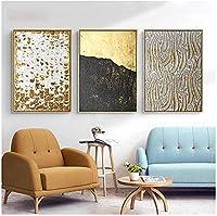 モダンペインティング3ピース40x60cmフレームなしブラックゴールドホイルテクスチャラインポスターとプリントクリエイティビティウォールアート写真リビングルーム家の装飾