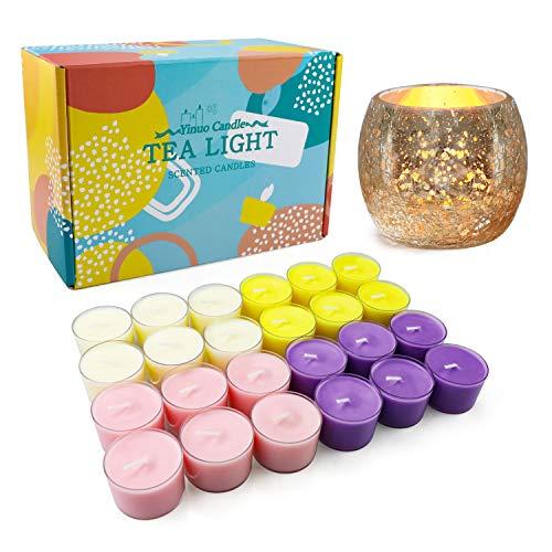 Velas de té muy aromáticas a granel (24 unidades)   Velas de té de soja de larga duración con flores de hielo rotas velas de oro   Pequeñas velas votivas regalos para mujeres