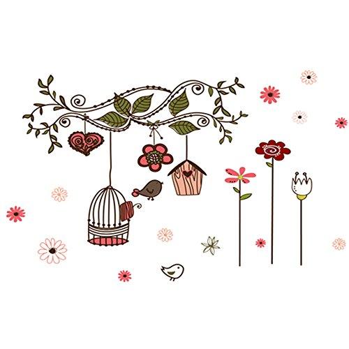 winhappyhome en vigne Birdcage Stickers Art Mural pour enfants Chambre Salon Fond Chambre Decor Amovible Diy Nail Art