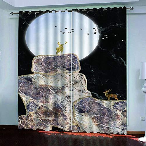 MENGBB Cortina Opaca Microfibra Infantil 160x180cm Textura de mármol de Alce 95% Opaca Cortina aislantes de frío y Calor Decorativa con Ojales Estilo para Salón Habitación y Dormitorio