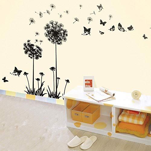 Walplus Pegatinas decorativas para pared despegables (PVC), diseño de dientes de león, color negro