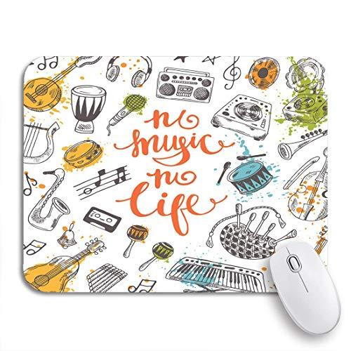 MATEKULI Gaming-Mauspad,Kein Musikleben Festival Musikinstrumente Aquarell Spritzer,Rutschfest Verschleißfestes Und Haltbares Gummi,Mousepad Für Bürocomputer,9.5