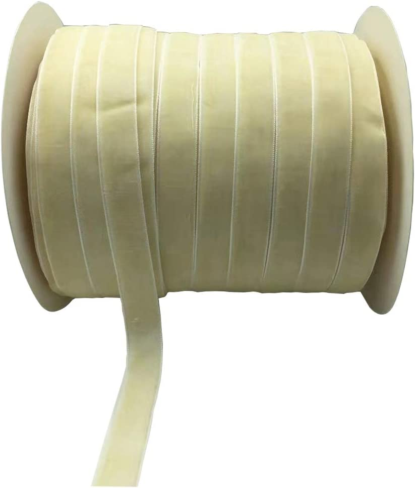 10 Yards Velvet Ribbon Spool Available in Many Colors Beige, 3//8