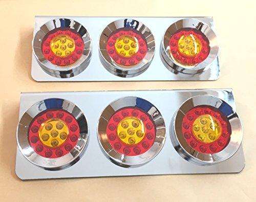 2 x Chrome en acier inoxydable 3 rond LED Feu arrière Triple lumières 24 V Lampes pour Camion Remorque