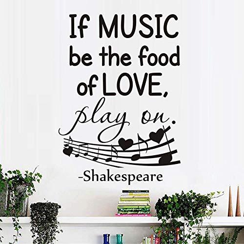 yaoxingfu Pegatinas de Pared Cita Refranes If Music Be The Food of Love Vinilo Tatuajes de Pared Dormitorio Mural Arte Nota Musical Decoración para el hogar Negro 44x61cm