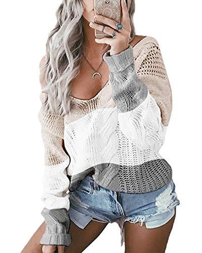 YOINS Oversize Pullover Damen Strickpullover Damen Sexy Off Shoulder Langarmshirt Schulterfrei V-Ausschnitt Causal T-Shirt,Khaki/Weiß/Grau,XL