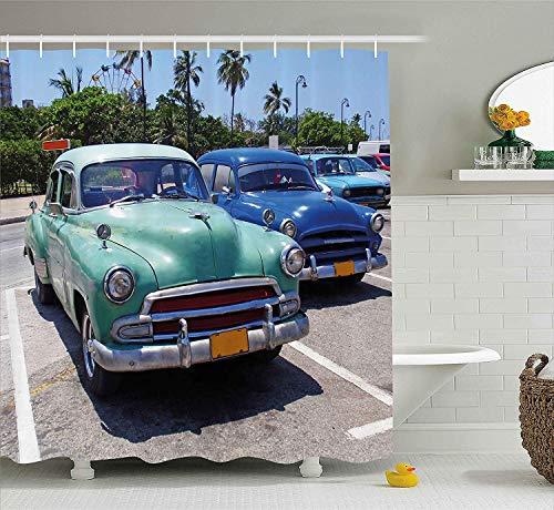 JOOCAR Design Duschvorhang, Vintage-Dekor, bunt, Vintage, amerikanische Autos auf der Straße & TRE r& um Digitaldruck, mehrfarbig, wasserdichter Stoff, Badezimmer-Deko-Set mit Haken
