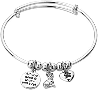 Cherris All You Need is Love a cat/Dog/You Left Paw Prints on My Heart Bracelets Bangle Cuff