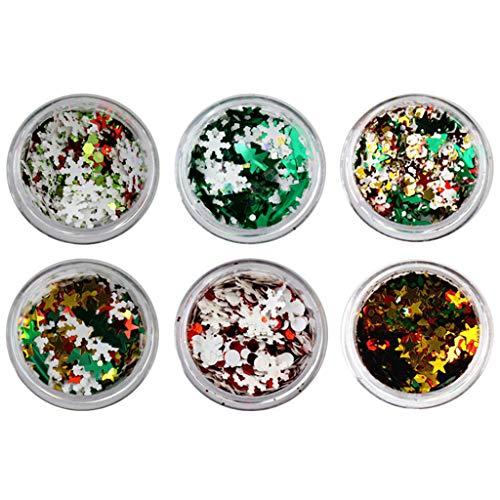 Affordable EnjoCho 6 Boxes Snowflake Nail Glitter Flakes Sparkly 3D Colorful Sequins Nail Polish Man...
