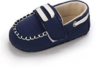 Infant Baby Boy Girl Crib Shoes Newborn Soft Sole Sneaker PU Shoes Toddler Flats Casual First Walkers (Color : Blue, Size...