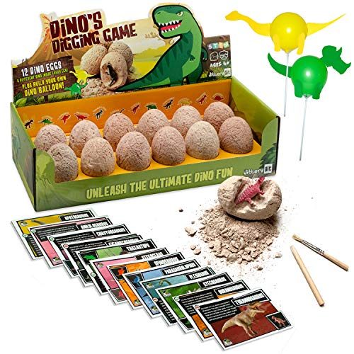 JITTERYGIT Dinosaur Toys for Boys and Girls - 12 Digging Eggs Game - STEM Kids Activities Toys - Easter Eggs for Kids - Best Dinosaur Gifts for Boys and Girls Age 3 4 5 6 7 8 9 10 11+