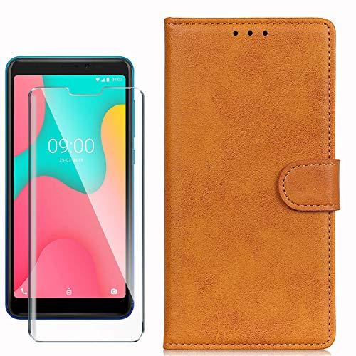 HYMY Hülle für Wiko Y60 + Schutzfolie - Gelblich Braun Einfach Stil PU Leder Lederhülle Flip mit Brieftasche Geldbörse Card Slot Handyhülle Cover für Wiko Y60 (5.45