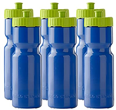 Sports Squeeze Water Bottles - Set of 6 - Team Pack – 22 oz. BPA Free Bottle Easy Open Push/Pull Cap – Made in USA - Multiple Colors Available (Blue/Lime)