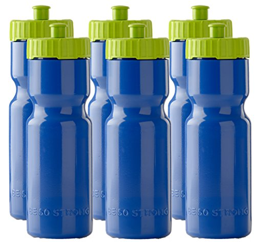Sports Squeeze Water Bottles  Set of 6  Team Pack – 22 oz BPA Free Bottle Easy Open Push/Pull Cap – Made in USA  Multiple Colors Available Blue/Lime