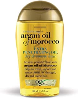 OGX, Hair Oil, Renewing+ Argan Oil of Morocco, Extra Penetrating Oil, Dry & Coarse Hair Types, 100ml