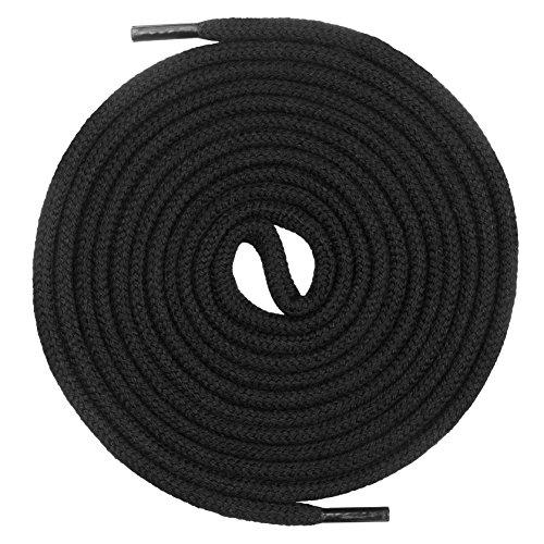 Mount Swiss runde Premium-Schnürsenkel aus 100% Baumwolle - sehr reißfest Farbe Schwarz Länge 120cm