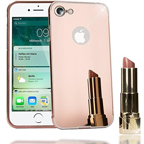 NALIA Custodia Specchio compatibile con iPhone 7, Ultra-Slim Mirror Case Cover Protettiva con Bordo Alluminio Cellulare, Bumper Copertura Rigida Protezione Telefono Sottile - Oro Rosa