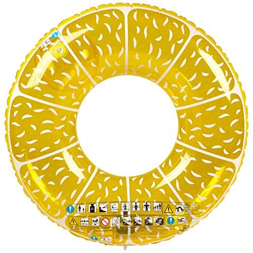 """Ultrakidz Riesen-Schwimmring """"Frucht"""", Schwimmkissen, XXL Float Spielzeug in lustiger Zitronen-Form, Durchmesser ca. 107 cm, für Schwimmbad, Strand oder Pool, aus stabilem PVC, aufblasbar"""