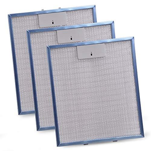 3 filtros de grasa de metal de repuesto para Whirlpool Bauknecht 480122102168 Indesit C00314158 Filtro de rejilla metálica 305 x 267 mm Filtro de campana extractora