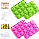 2 Sets Lollipop Cake Maker Mold Set, 12-Hole Cake Pop Mold Silicone Lollipop Mold with Lollipop...