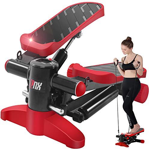 【2020最新の強化版 1年間安心保証】LNX ステッパー 有酸素 運動 フィットネス ダイエット 器具 ひねり運動 踏み台昇降 静音 ステップ台 健康エクササイズ器具 足踏み 3D 健康ステッパー (レッド)