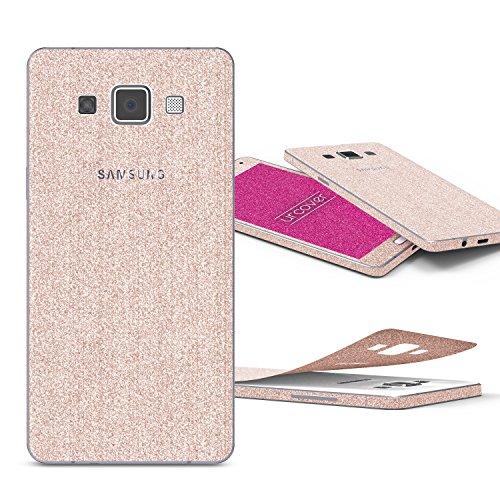 Urcover® Glitzer-Folie zum Aufkleben kompatibel mit Samsung Galaxy A5 (2015) | Folie in Champagner Gold | Glitzerhülle Handyskin Diamond Funkeln Schutzfolie Handy-Schutz Luxus Bling Glamourös