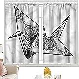 Cortinas opacas con bolsillo para barra, diseño de pájaros de origami grúa ornamental, 120 x 200 cm, cortina de oscurecimiento para habitación de niños