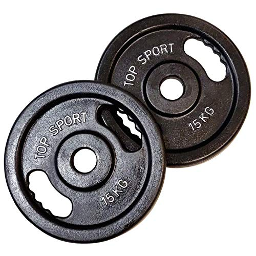 Body Built Platos de pesas olímpicos de hierro fundido de 2 x 15 kg, color plateado