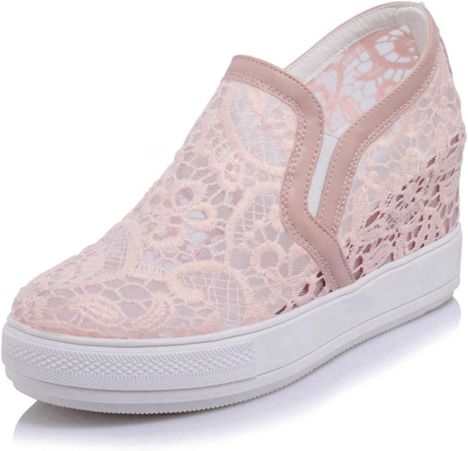 CYBLING Women's Hidden Heel Wedges shoes Low Top Platform Casual Lace Pull On Fashion Sneakers