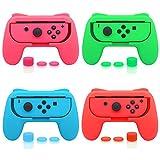 FASTSNAIL Lot de 4 Poignées Joy-Con Pour Nintendo Switch, Manette Joy-con Grip Pour Interrupteur Avec 12 Capuchons de Préhension Pour Pouce Vert Rose Bleu et Rouge