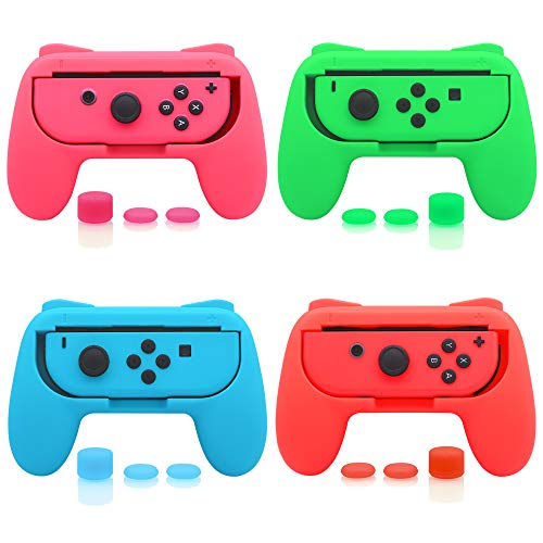 FASTSNAIL 4 Pack Grips Kit Compatible with Nintendo Switch Joy-Con, Wear-Resistant Grip Controller Compatible with Joy-con with 12 Thumb Grip (Green Pink Blue and Red)