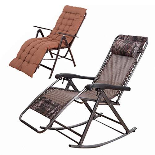 SJSLSJSL Folding Chairs Old Man Rocking Chair Siesta Chair Home Chair Pregnant Women Lunch Break Recliner Cushion Padded Single Chair