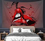 """Sexy Kissing Lover Red Lips Valentine Tapestry 60' x 80"""" Sex Art Wall Hanging Party Decorations Bedding Wall Blanket Art Home Decor for Bedroom Living Room Dorm (150 x 200cm)"""