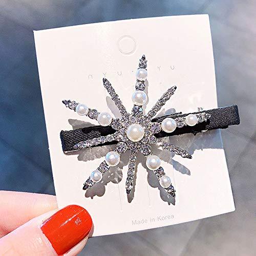 ZYJ Nuevo Brillante Perlas de Cristal Horquillas de Copo de Nieve para Mujeres Diadema Elegante pasadores Pinzas...