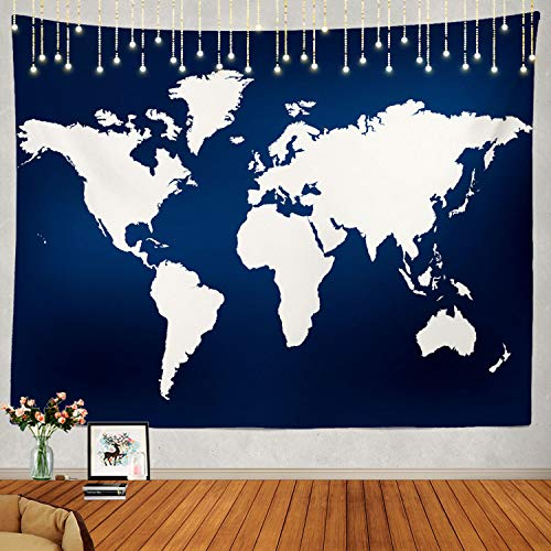 Shrahala Navy Blue World Map Tapestry, Earth in Navy Blue White Wall Hanging Large Tapestry Psychedelic Tapestry Decorations Bedroom Living Room Dorm(51.2 x 59.1 Inches, Blue 4)