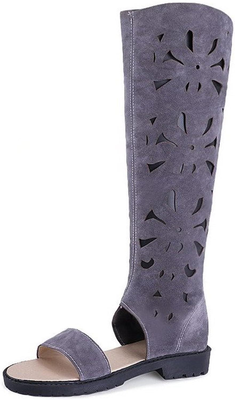 AllhqFashion Women's Open Toe Low Heels Frosted Solid Zipper Sandals