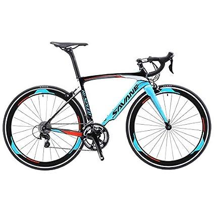 Sava Bicicleta de Carretera de Carbono, Bicicleta de Carretera Warwinds5.0 700C de Fibra de Carbono con Sistema de Cambio Shimano 105 R7000 22-Velocidad, neumáticos Michelin 25C y Freno (Azul, 54cm)