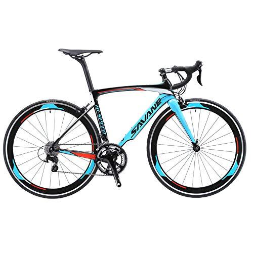 SAVADECK Warwind5.0 Bici da strada in carbonio, 700C Bici da Corsa su Strada con Shimano 105 R7000 Gruppo a 22 velocità Pneumatico Continental e freno Doppio V Bicicletta Ultralight (Blu, 52cm)