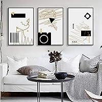 黒と白の抽象的な壁アートキャンバス絵画現代ミニマリストのポスターとプリントリビングルームの家の装飾のための壁の写真50x70cmx3フレームなし