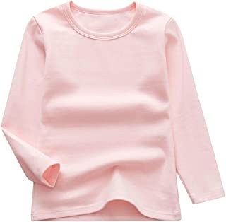 GLEAMING GRAIN Toddler Boys Girls Long Sleeve T-Shirts Unisex Kids Cotton Basic Round Neck Top Tee 2-8T
