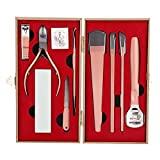 Kit de pedicura de uñas ranuras, herramienta de cepillado de pies para belleza de pies para mujeres para exfoliar para callos (8 piezas de pedicura set oro rosa (caja), azul)