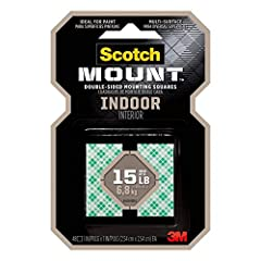 Ideal for Painted Surfaces Intended for indoor use - Delivers a strong, permanent bond on contact Holds up to 15 lb with 3M industrial strength adhesive. To hold 1 lb use 3 squares. To hold 15 lb use 45 squares Application temperature 50°F to 100°F E...
