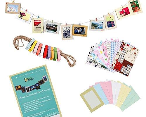 STONCEL Do-IT-Yourself-fotolijst, pappbilderrahmen met Mini-wasknijpers aan snoer opgehangen, geschikt voor 10 x 15 cm foto 's