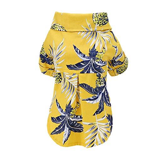 Hundehemd Kleidung Hawaii Freizeithemd Kokosnussbaum Hemden Coole Sommer Seabeach Tank Top Weste für kleine Hund Welpen Katze (Hawaii-Gelb, S)