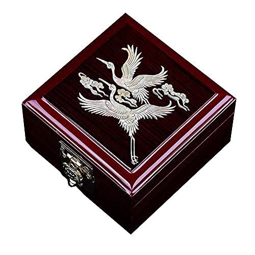 WYZQ Vintage hölzerne Aufbewahrungsbox, chinesische Aufbewahrungsbox, Umkleidekabine, HighGrade Pearl Uhrenbox bemalter Lack Muttertag, Mutter (D)