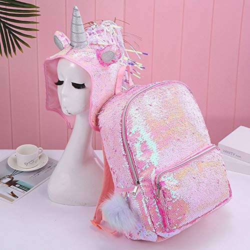 ANAN Girls Hooded Backpack,Sequins Unicorn Schoolbag Fashion High Capacity Daypack with Hat,Women Girls Pink Rucksack for Kids Outdoor School Travel